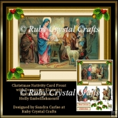 Christmas Nativity Decoupage Card Front