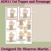 ADS11 Cats Present Toppers and Background sheet
