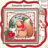 CHRISTMAS SQUIRREL WAITING FOR SANTA 8x8 Decoupage & Insert Kit