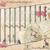 10 Vintage Paris Themed Papers Set 2