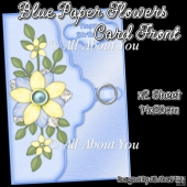 Blue Paper Flowers Card Front