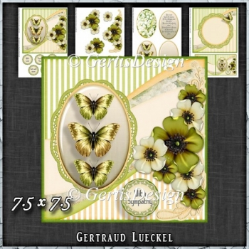Vintage Shabby Flower Card Kit Green 1444