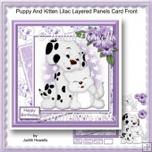 Puppy And Kitten Lilac Layered Panels Card Front