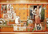 Art Deco Lady Lily Christmas 4 Sheet mini Kit Light Peach