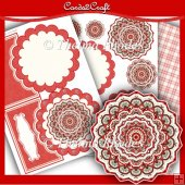 Red daisy shaped mandala card set