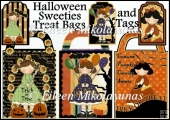 Halloween Sweeties Treat Bags and Tags Set of 3