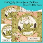 Holly Jolly Green Santa Cardfront with Pyramage