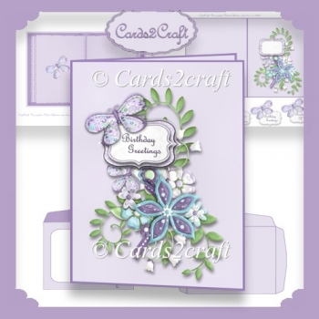 Lilac buterfly card set