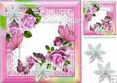 pretty pink roses, butterflies on lace with rainbow frame 8x8