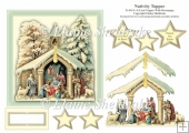 Nativity - 6 x 6 Card Topper With Decoupage
