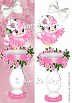 cute pink bird with flowers and bird bath Tall DL