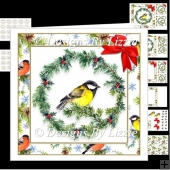 Christmas Bird With Holly Wreath Mini Kit