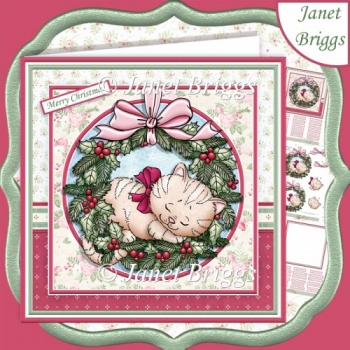 KITTEN IN WREATH 7.5 Christmas Decoupage & Insert Kit