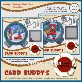 Nostalgic Christmas Plate Cards Twin Pack