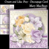 Cream and Lilac Posy Decoupage Card