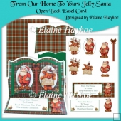 From Our Home To Yours Jolly Santa Open Book Easel Card