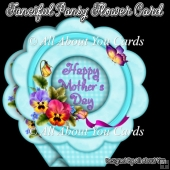 Fanciful Pansy Flower Shaped Card