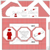 Red Graduation Octagonal Tri Shutter Card