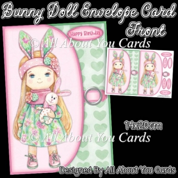 Bunny Doll Envelope Card Front