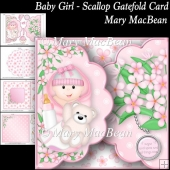 Baby Girl - Scallop Gatefold Card
