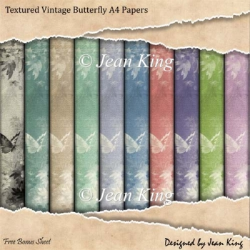 Textured Vintage Butterfly A4 Papers
