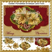 Golden Poinsettia Envelope Card Front
