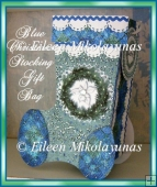 Blue Christmas Stocking Gift Bag with Crafting Directions