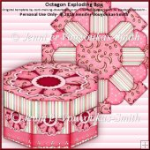 Hexagonal Exploding Box with Secret Gift Box - Pink Flowers