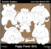 Puppy Power Girls Colour Your Own Reseller Clipart