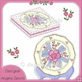 FLOWERS AND BOW PRETTY PLATE CARD AND DISPLAY BOX