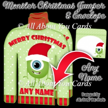 Monster Christmas Jumper Card & Envelope - PERSONALISE ANY NAME