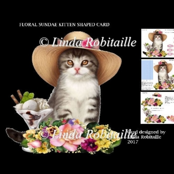 Floral Sundae Kitten Shaped Card