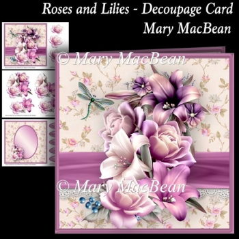 Roses and Lilies - Decoupage Card