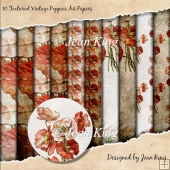 10 Textured Vintage Poppies A4 Papers