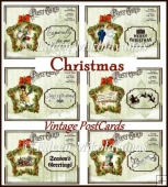 Vintage Christmas Wreaths Greetings DIY Postcard Set