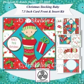 Christmas Stocking Baby 7.5 Inch Card Front Insert & Sentiments