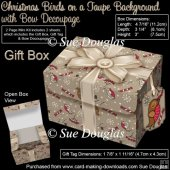 Gift Box Christmas Birds on a Taupe Background with Bow Decoupag