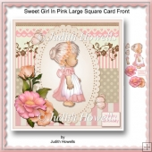 Sweet Girl In Pink Large Square Card Front