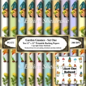 Garden Gnomes - Set One - Ten 12 x 12 Printable Backing Papers