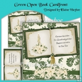 Green Open Book Cardfront with Decoupage