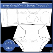 Nappy Shaped Card & Envelope CU Template