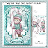 Boy With Candy Cane Christmas Card Front