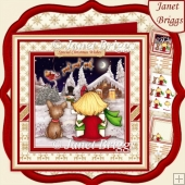 WATCHING FOR SANTA 8x8 Christmas Decoupage & Insert Kit