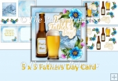 "Father's Day Card, 5"" x 5"" two inserts, backgrounds & decoupage"