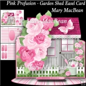 Pink Profusion - Garden Shed Easel Card