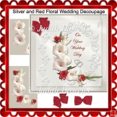 Silver and Red Floral Wedding Decoupage Card