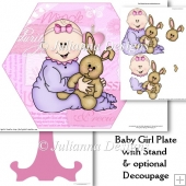 Baby Girl Plate With Pptional Decoupage