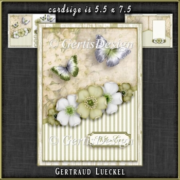 Vintage Dream soft colors flowers green 1107