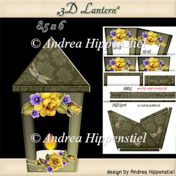 3D Lantern yellow rose