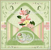 Magnolia Thank You Decoupage Layered Envelope Topper/Tags